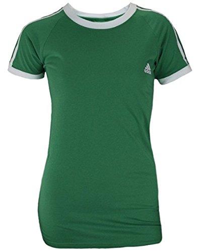 Adidas Women's Short Sleeve Striped Raglan Tee (X-Large, Green)