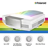 Polaroid Full HD Ultra Short Throw Projector U-200: 30,000 hours LED Light Source, Android Based Home Theater Projector TV, Supports Gaming, Dual-Band WiFi, 4K Compatible with 0.2:1 Throw Ratio