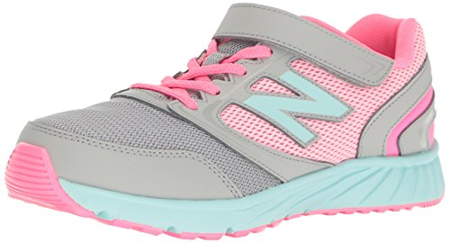 New Balance Girls' 455 Running Shoe, Grey/Pink, 2 M Little Kid