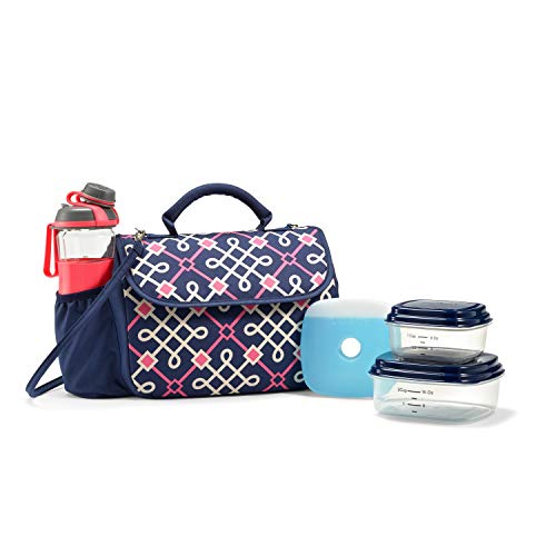Fit & Fresh Lovelock Insulated Lunch Bag Kit for Women with BPA-Free Container Set and Shaker Bottle, Navy Hilton Garden