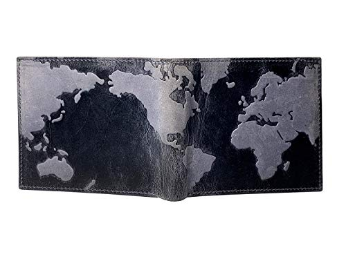 Corder London Men's Unique Map Of The World Distressed Leather Slim Bifold Wallet With RFID Shielding in Branded GIFt BOX (11.5cm X 9.5cm, Blue) (The Best Mens Wallet In The World)