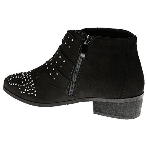 Feet First Fashion Womens Low Heel Buckle Biker Ankle Boots Black Faux Suede 2liTV