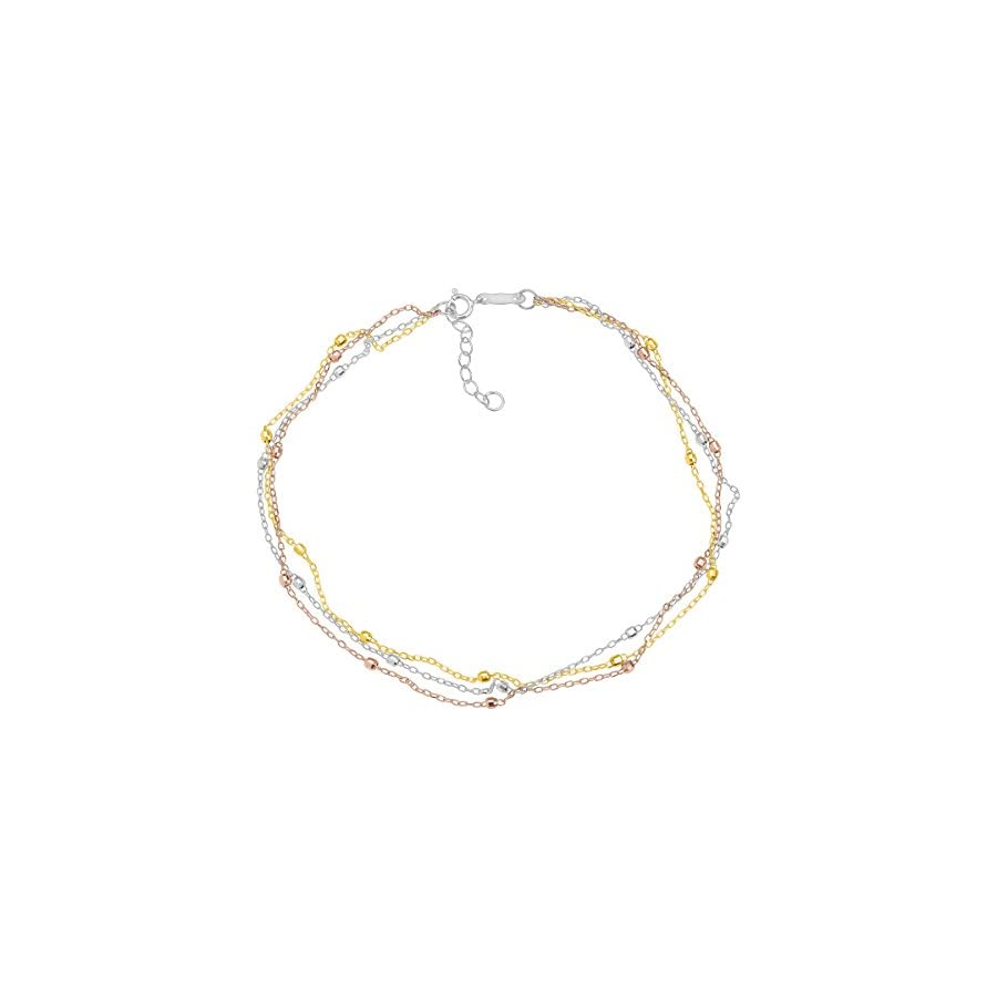 Just Gold Triple Strand Beaded Anklet Bracelet in 14K Three Tone Gold