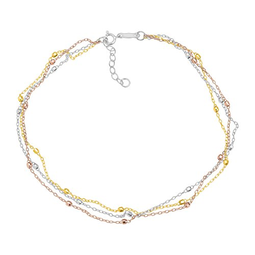 Just Gold Triple Strand Beaded Anklet Bracelet in 14K Three Tone Gold