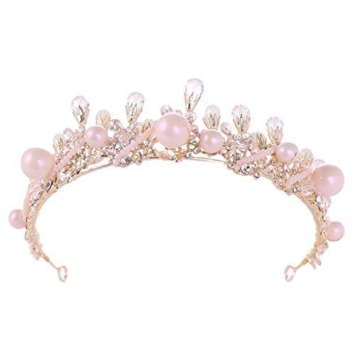 - Finedayqi ❤ Luxury Elegant Crown Full Diamond Zircon Flower Pearl Tiara Headband Ladies