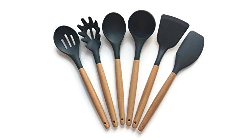 Kitchen Utensils Set Silicone Heads Wood Handles 6 pieces Heat Resistant Non-stick Non-Scratching - Slotted Spoon, Spaghetti Lifter, Mixing Spoon, Soup Ladle, Lifter, Spatula