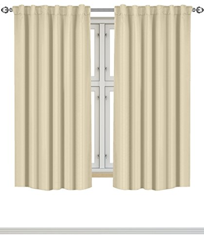 Utopia Bedding Blackout Room Darkening Curtains Window Panel Drapes - Beige Color 2 Panel Set, 52 inch wide by 63 inch long each panel- 7 Back Loops per Panel- 2 Tie Back Included