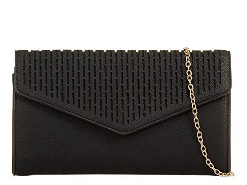 Leather Wedding Black Handbags Women's Bag mate's Clutch 715 Bridal Bridal LeahWard Faux ESfxqwwZ