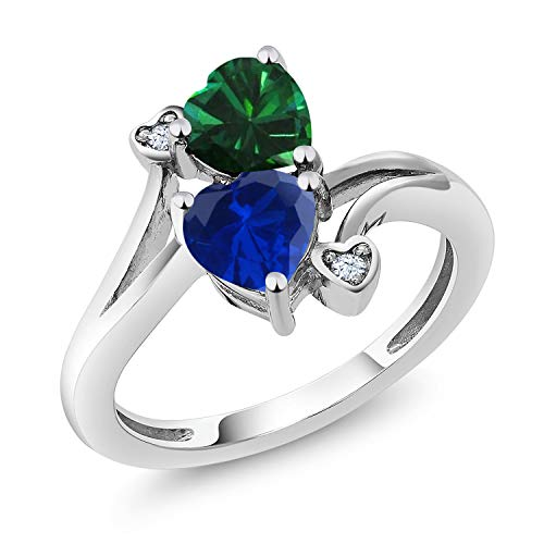 Gem Stone King 1.51 Ct Green Simulated Emerald Blue Simulated Sapphire 925 Sterling Silver Ring Available 5,6,7,8,9