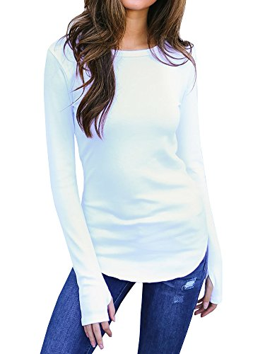 Sibylla Womens Casual Long Sleeve Thumb Hole Solid Tunic Tops Blouse T Shirt Activewear