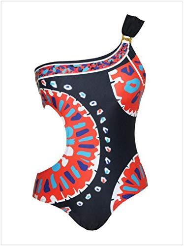 Women Monokini Sexy Ladies Printed One Shoulder Swimsuit One Piece Bodysuit Hollow Casaul Beachwear Bathing Suit