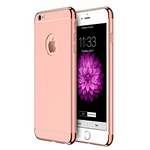 Xelcoy 3 in 1 (Top + Bottom + Back) Shockproof Dual Layer Electroplated Case Cover For iPhone 6PLUS 6sPLUS 5.5' - Rose Gold