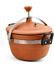 ADMIRE ENGICON terracotta Clay Outer Lid Pressure Cooker, 3 liters, Brown