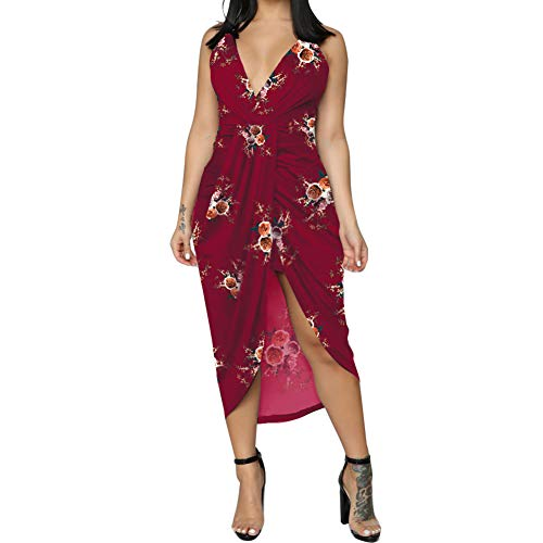 - Womens Boho Dresses Casual V Neck Ruffled Wrap Midi Cocktail Dress Burgundy S