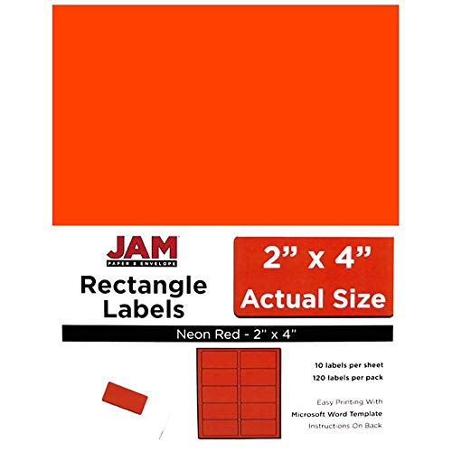 JAM PAPER Shipping Address Labels - Standard Mailing - 2 x 4 - Neon Fluorescent Red - (Fluorescent Red Label)