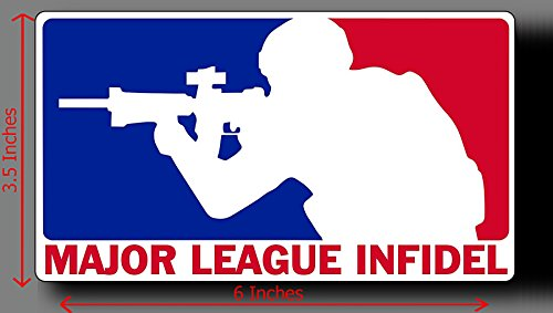 Major League Infidel sticker decal vinyl 6x3.5 in Windows, Car Body, Car Bumpers, Laptops, Folders, (Major Decals)