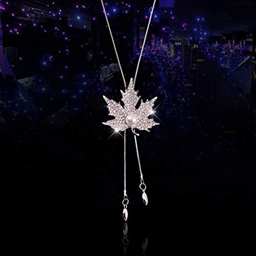 Unique Fashion Autumn Long Rose Tassel Necklace Pendant Women Girls Woman Jewelry Gift Sweater Chain lanyards (Full Diamond Maple Leaf