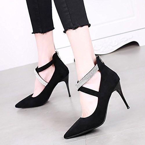 SSBY Im Frühling Die Neue 9Cm Alle Treffer Mode High Heels Diamant Mit Einem Feinen Spitze Bandagen Sexy Schwarze Schuhe Kinderschuhe black