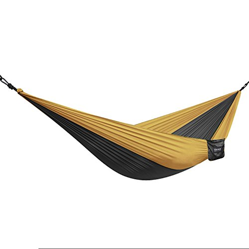 Gonex Parachute Nylon Fabric Travel Camping Hammock(Black+Brown)