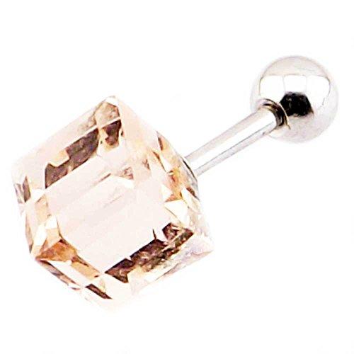 lumière cube vert supérieure oreille rose | cartilage | tragus bar bijoux de corps 16g (1,2 mm x 6 mm)
