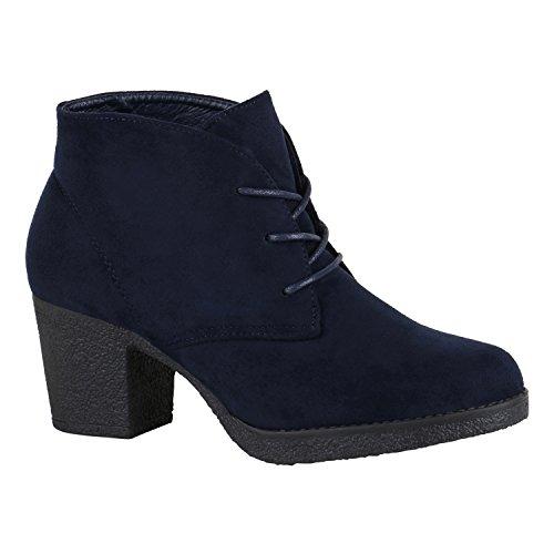 Stiefelparadies Damen Schnürstiefeletten Stoffschuhe Profilsohle Blumen Ankle Boots Stiefeletten Flandell Dunkelblau Schnürung