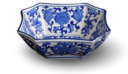 Blue and White Long Octagon Serving Bowls, Salad Bowls, Fruit Bowls (7'') by Festcool