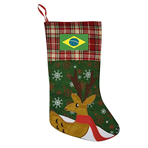 RODONO Brazilian Flag Large Christmas Stocking Xmas Character Christmas Decorations Family Holiday Party Accessory 15.5 inch