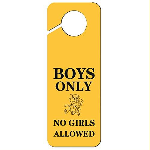 (Boys Only No Girls Allowed-2 Designer Door Knob Hanger Sign Plastic for (Office Hotel Home)