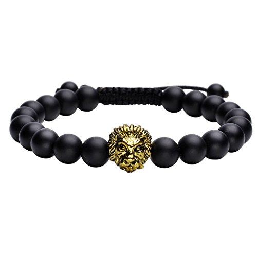 Jovivi 8mm Handmade Lion Head Macrame Adjustable Lava/Matte Agate/Picture/Dragon Stone Gemstone Beaded Bracelet,Unisex - Dragon Head Bracelet