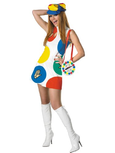 Sexy Fun 70s Style Twister Mini Dress Hat and Purse Womens Theatrical Costume Sizes: Small - Twister Halloween Costume Funny