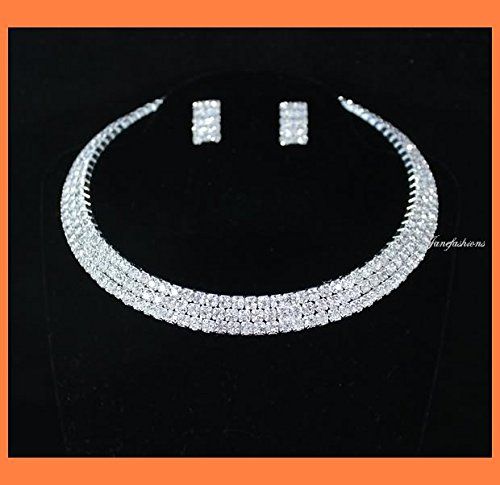 Janefashions 3-row Clear Austrian Rhinestone Choker Necklace Earrings Set Party Wedding N0561 Silver