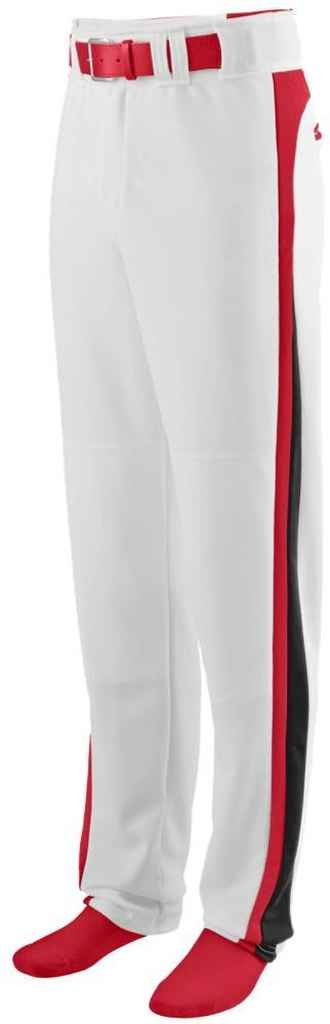 1478 Slider Baseball/softball Pant - Youth WHITE/RED/BLACK L Augusta Drop Ship AG1478