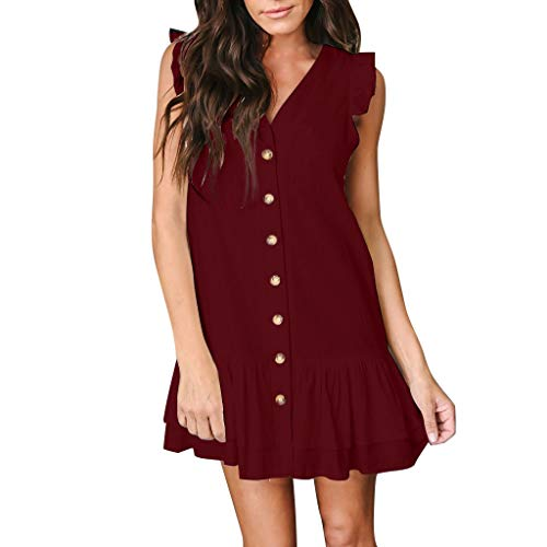GINELO Womens Fashion Solid Color V Neck Petal Sleeveless Button Ruffles Loose Mini Short T-Shirt Dress Wine