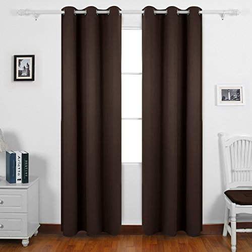One Grommet (Deconovo Thermal Insulated Curtains Room Darkening Grommet Blackout Curtain Panels for Living Room 42x95 Inch Brown One Curtain Pair)