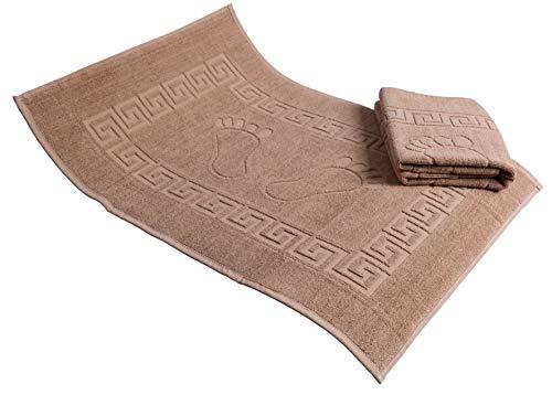 Secret Sea Collection Set of 2 Footprint Bath Mat Towel Foot Towel 100% Turkish Cotton Washable Reversible 20#039#039 x 28#039#039 Brown