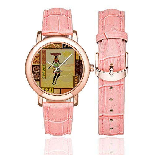 "Afro Decor Rose Gold Leather Strap Watch,African Girl Dressed Ethnic Under Sun Figure Folk Culture Tribal Elegance Display for Woman,Case Diameter:1.4""D from C COABALLA"