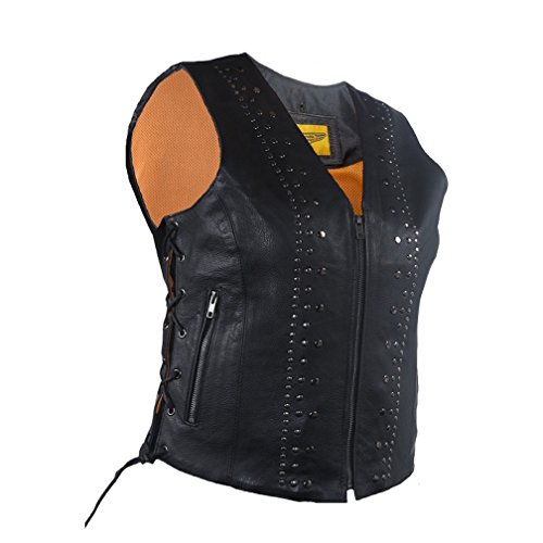 Womens Leather Motorcycle Vest with Satin Nickel Studs Gun Pockets (L, Black)