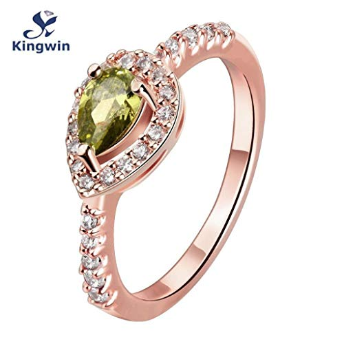 Naomi August Birthday Stone Ring 18ct Gold Plated Color Birth Stone Women Rings Peridot Green pear-Cut cz Green 8