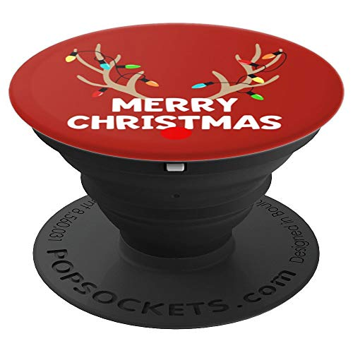 Merry Christmas Reindeer Antler Lights Gift Stocking Stuffer - PopSockets Grip and Stand for Phones and Tablets