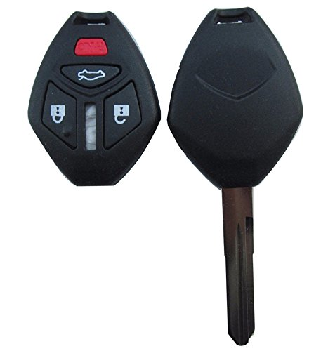 KEMANI New Uncut Blade 3+1 Button Remote key Case Fob Shell For Mitsubishi Galant Repair For 06 07 2006-2007 Mitsubishi Eclipse Galant 4 Buttons Repair Replacement Housing (with button pad)