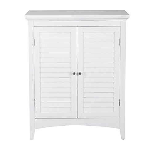 Double Door Floor Cabinet (White Double Door Floor Cabinet For Bathroom with 2 Adjustable Shelves Made From Wood Modern Style Included Cross Scented Candle Tart)
