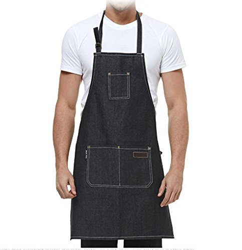 EQ Apron Waterdrop Resistant with 3 Pockets Cooking Kitchen Aprons for Women Men Chef,Black by EQ (Image #5)