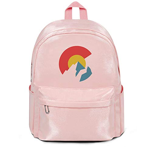 Womens Girl College Bookbag Colorado State Flag United States Casual Nylon Durable 13 Inch Laptop Compartment Backpack Pink For Teens ()