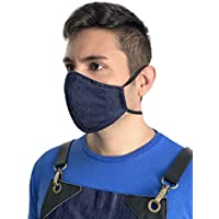 Face Mask - Over the Head Elastic Loop - Double Layer, Filter Pocket - Reusable, Washable - Blue Denim - Adult, Unisex - New Bigger Size