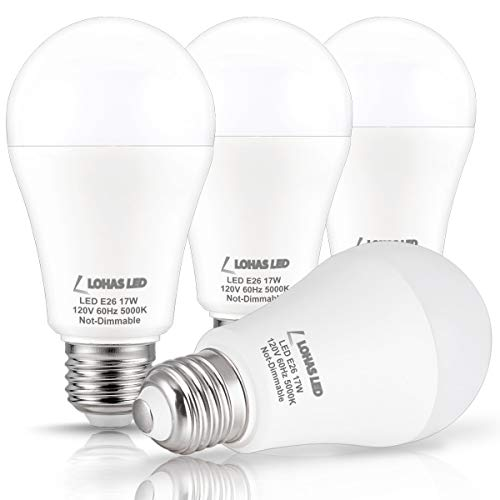 LOHAS LED Bulb 100-150W Equivalent(UL Listed), LED Light Bulbs Daylight 5000k, White A19 Bulb 17W, E26 Edison Base LED Lights, LED Home Lighting Lamps, Non-Dimmable(4 Pack)