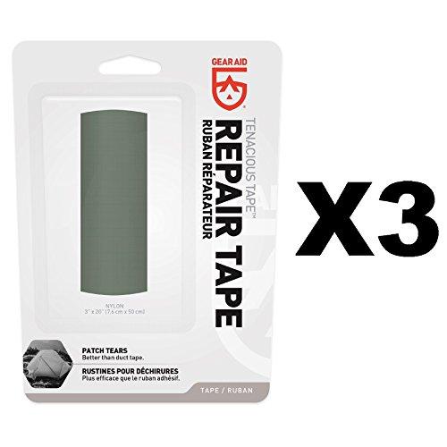 McNett Gear Aid Tenacious Tape Sage Green Ultra Strong Flexible Repair (3-Pack) by Gear Aid