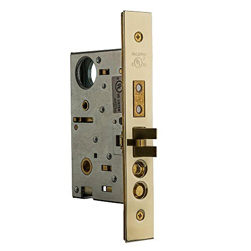 Baldwin Lock Entrance - Baldwin 6321.003.R Estate Right Handed Handleset and Knob Entrance Mortise Lock with 2-1/2-Inch Backset and Emergency Egress, Lifetime Polished Brass