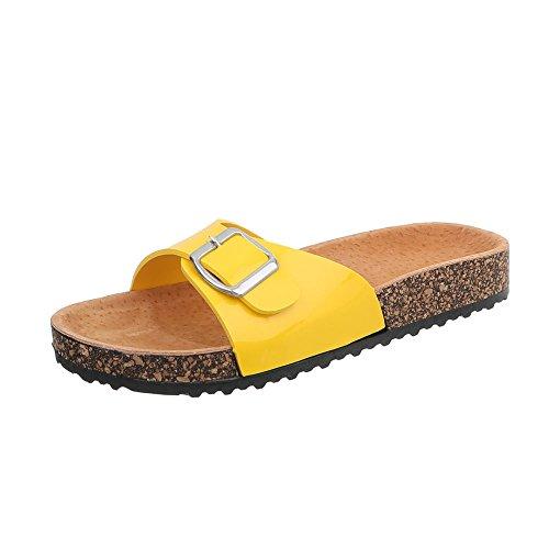 Ital-Design Pantoletten Damenschuhe Sandalen & Sandaletten Gelb KU-6