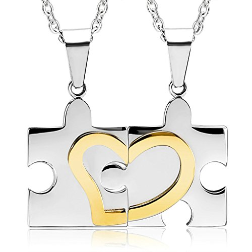 KnBoB Stainless Steel 2 Pcs Couples Necklaces Love Heart Puzzle Gold Silver Pendant Necklaces (Interchangeable Pendant Hanger)