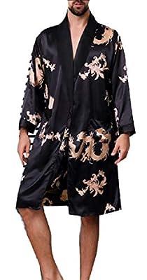 M&S&W Men's House Kimono Bathrobe Satin Robe Dragon Luxurious Silk Spa